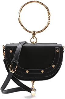Withchic Women's Shoulder Saddle Crossbody Bags Flap Top With Ring Handle