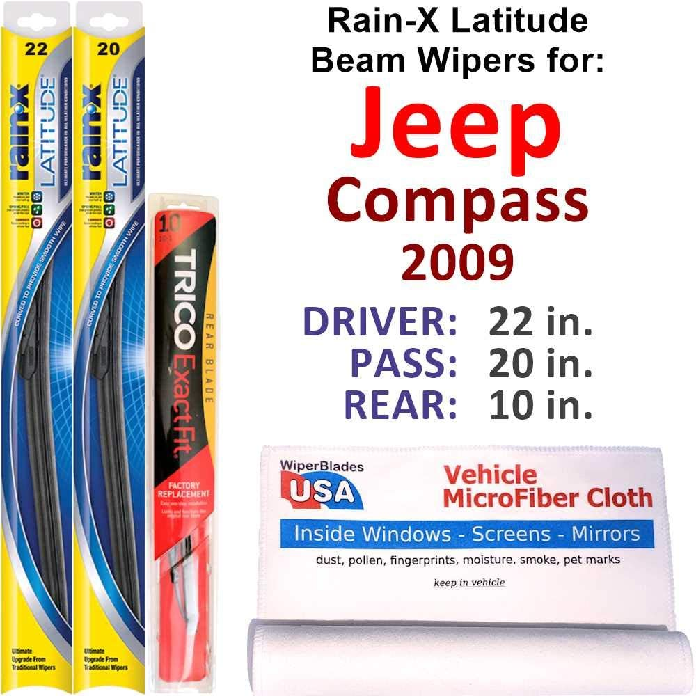 Rain-X Spring new work one after another Latitude Beam Opening large release sale Wipers for 2009 Rear w Set Rai Jeep Compass