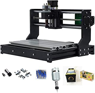Upgraded version CNC 3018 PRO Engraving Machine, with 2500mw Blue Light Laser module 450nm 3 Axis DIY CNC Router 300X180X45mm,PCB Wood Plastic Milling 5mm ER11 Extension Rod 10pcs Bits 4pcs Clamps