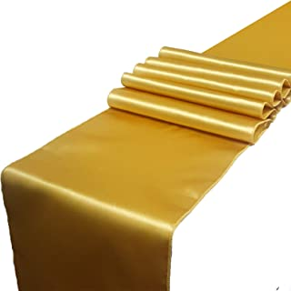 Parfair Dessin Pack of 5 Satin Table Runners 12 x 108 inch for Wedding Banquet Reception Party Decoration, Bright Silk and Smooth Fabric Party Table Runner - Gold