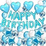 DAYPICKER Blau Geburtstag Deko für Junge, Blaue Happy Birthday Girlande Folienballon 30 Latex Ballons 10 Blau Silber Konfetti Luftballons & 4 Herz Stern Folienballon Ballon
