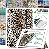 DuraSafe Cases for iPad Air 1-9.7 Inch 2013 [ A1474 A1475 ] Printed Smart Cover with Transparent Back - Leopard (Soft Silicone Back)