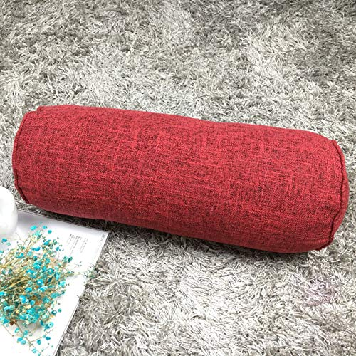 Round Neck Pillow Roll Cervical Support Pillows Neck Pain Relief Cylinder Bolster Pillows with Removable Washable Cover for Sleeping, Chair, Car, Sofa (2, Red)