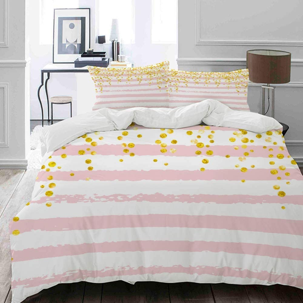 Wedding Glitter Confetti dots on Pink EFYSOI Duvet Cover Twin Ultra-Soft Four Seasons Universal Quilt Cover Excellent Stitching Hidden Zipper Closure Not Include Comforter