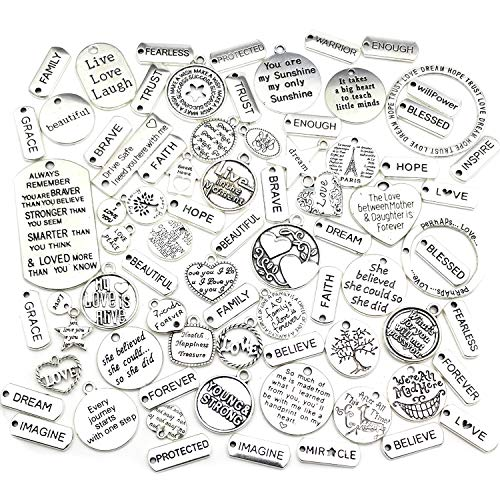WOCRAFT 80pcs Inspiration Words Charms Craft Supplies Beads Charms Pendants for Jewelry Making Crafting Findings Accessory for DIY Necklace Bracelet (M373)