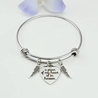 A Piece of My Heart is in Heaven, Stainless Steel Expandable Bangle Bracelet, Memorial Gift In loving Memory, loss of loved one, Angel Wings