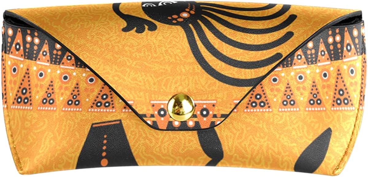 Multiuse African Ethnic Dancing Man Cute Sunglasses Case Eyeglasses Pouch Portable Goggles Bag PU Leather