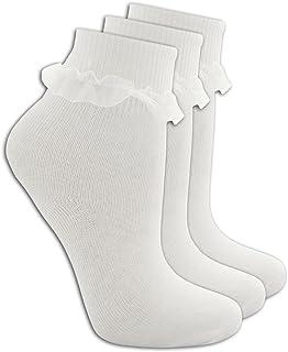Cottonique 3 Paquet de Filles Coton Rich Frilly Dentelle Top Chaussettes