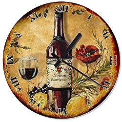 Wood Wine and Grape Wall Clock 30cm(11,8) Large Wall Art Decorative for Kitchen Living Room Silent Wall Clock Wooden Wall Art Decor Analog Battery Operated Non-Ticking