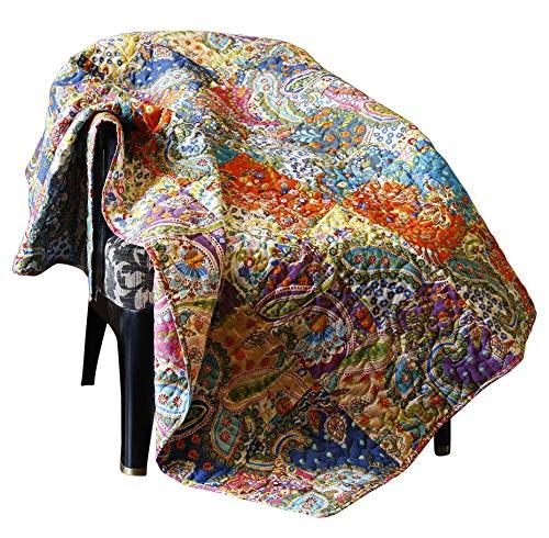 Quilt Tagesdecke Decke - 130 x 170 cm Mehrfarbige Reine Baumwolle Paisley Kantha Patchwork Jahrgang Indischer Überwurf weiche warme dekorative Reversible ethnisch Plaiddecke für Bett & Sofa