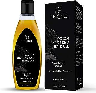 Appario Onion Black Seed Hair Oil - 6.7 Ounce | Natural Hair Care & Growth | Indian Ayurvedic Onion Hair Oil | Onion Oil for Hair Growth Organic