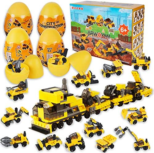ATDAWN 12 Pcs Prefilled Easter Eggs with Construction Vehicles Building Blocks for Easter Basket product image