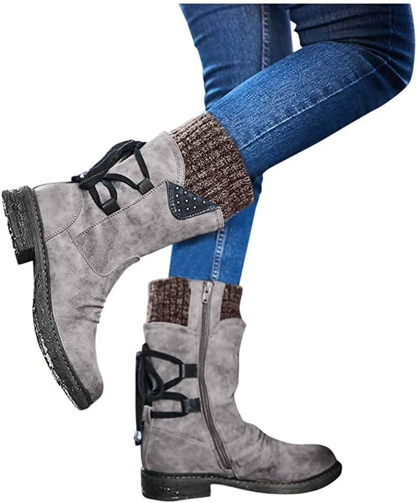 Boots for Women,Lace Up Thick Low Heels Shoes Fashion Women Casual Riding Vintage Retro Mid-Calf Boots Winter Warm Snow Boots