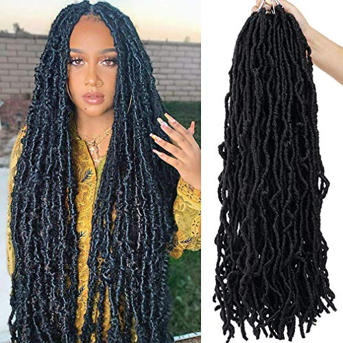 Youngther 24 Inch New Faux Locs Crochet Hair 6 Packs Extensible New Soft Locs Crochet Hair Pre Looped Synthetic Crochet Hair for Black Women(24inch,6packs,1B)