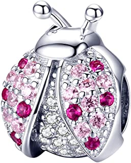 Lorrifal 925 Sterling Silver with Pink Cubic-Zircon Ladybug Charms for Women Girls fit Original 2020 Pandora Reflexion Bra...