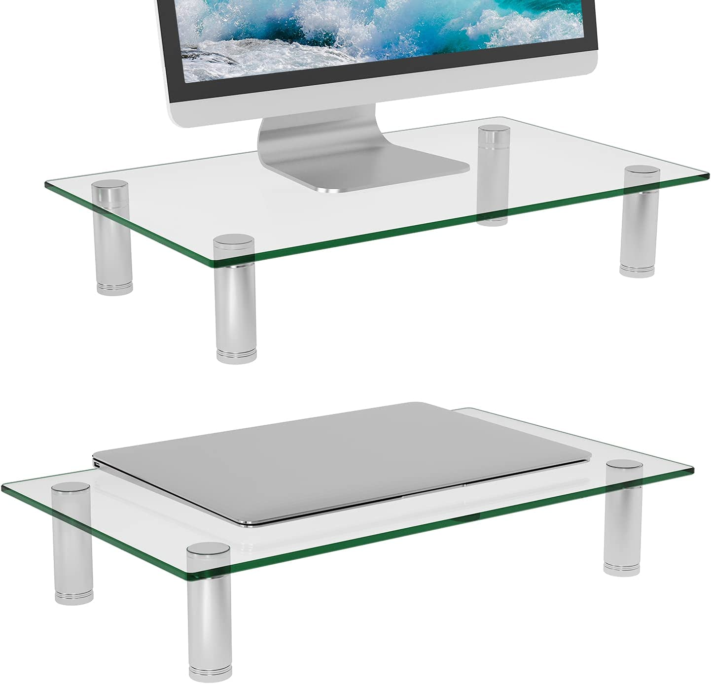 WALI Tempered Glass Monitor Riser Dual Computer Desktop Stand Height Adjustable Table Top for Flat Screen LCD LED TV, Laptop, Notebook, Display (GTT01-2), 2 Pack