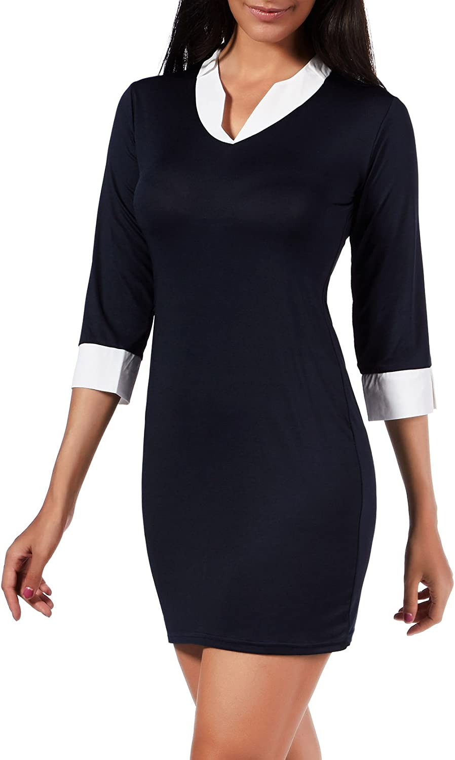 Cocofairy Women's Elegant V Neck 3 4 Sleeve Wear to Work Evening Party Sheath Mini Dress