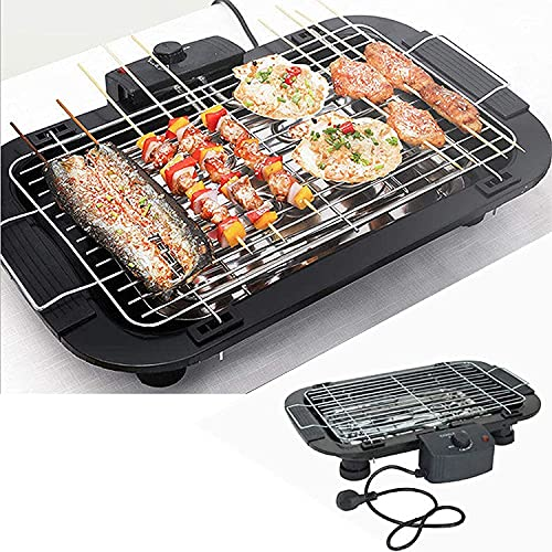 Jukmen Electric Barbecue Grill    Smoke Free BBQ Grill Machine    Electronic PAN with Power Indicator Light - BBQ Grill Tandoori Maker    Removable Water Filled Drip Tray    Black, 2000W