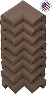 Kidkusion Corner Cushions, Brown - 8 Pack | Foam Safety; Table Protector; Furniture Safety; Edge Guard