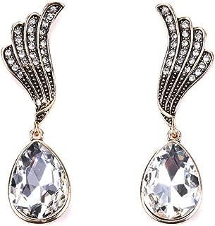 BGTKD Earrings Earrings Geometric Dangle Drop Angel Wings Earrings For Women Rhinestone Crystal Earring