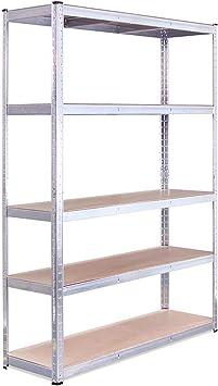 5 Tier Garage Shelving Racking Unit Storage Heavy Duty Steel Shelf Bays 180CM