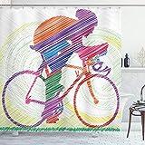 ABAKUHAUS Modern Duschvorhang, Radsport-Mann auf dem Fahrrad, Wasser Blickdicht inkl.12 Ringe Langhaltig Bakterie & Schimmel Resistent, 175 x 200 cm, Multicolor