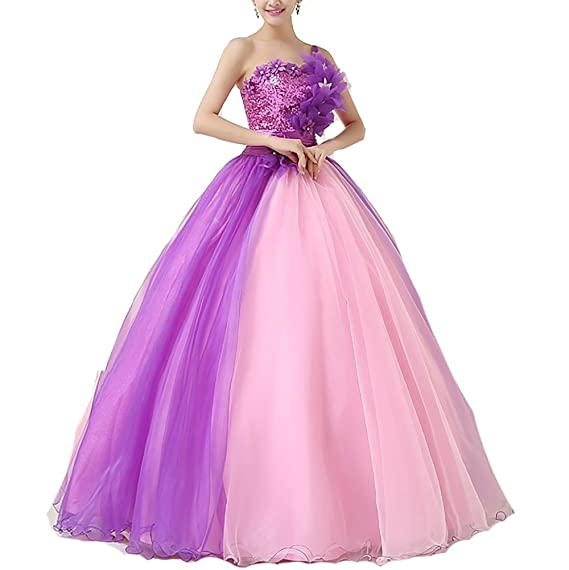Buy THE LONDON STORE Women's Pink & Purple Organza Ball Gown (8, Purple &  Pink) at Amazon.in