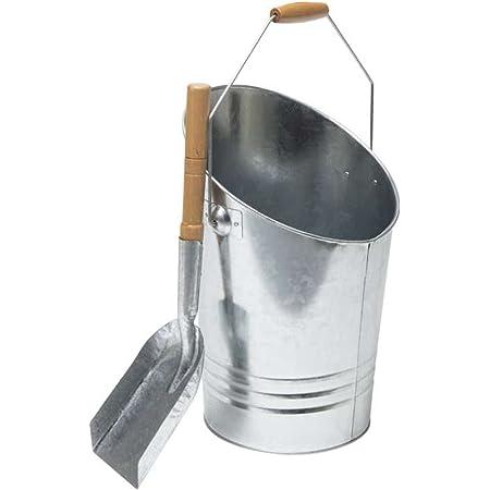 Werkapro 0 Seau cheminée à Charbon et à Bois-Cendrier d'extérieur pour Cendre Chaude ou Froide-avec Pelle et Anse de Transport, Gris, en Acier Galvanisé