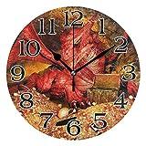 linomo - Reloj de Pared con diseño de dragón Rojo, silencioso, Redondo, silencioso, para Cocina, Sala de Estar, Dormitorio, baño, Oficina
