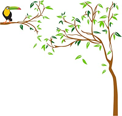 Prodecals Wall Sticker for Living Room Tree with Kingfisher Bird (Wall Covering Area : 150 X 150 cms, Multicolour)