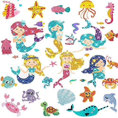 34 Pieces Diamond Painting Kit for Kids, 5D Gem Diamond Painting Kit, DIY Mermaid Diamond Art Sticker, Diamond Painting Stickers Gem Art Kit with 34 Cute Kid Crafts Diamond Sticker Craft for Girls