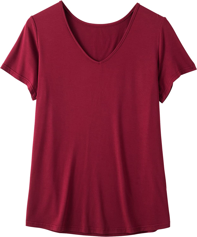 Zerbala Women's Bamboo Viscose Sleep T-Shirt Short-Sleeve Pajama Top