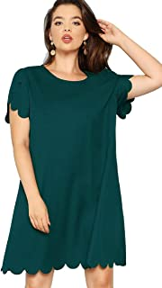 Women's Plus Size Solid Short Sleeve Scalloped Casual Loose Tunic Dress