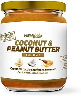 Mantequilla de Cacahuete con Coco y Miel de HSN Foods   100% Natural   Peanut Butter   Apto Vegetariano - Sin grasa de palma - Sin grasa trans - Sin azúcar ni sal añadidos - 250g