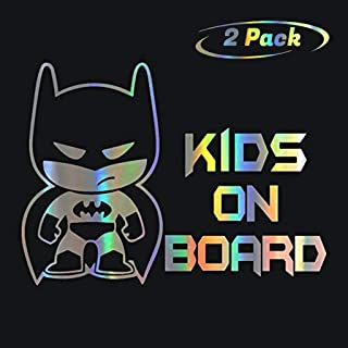 HungMieh 2 Pack Kids on Board Car Sticker and Decals for Car Window, Windshield and Body, Laser Material Vinyl Kids Safety Stickers and Signs, Children on Board Stickers(Set of Two, 7.48