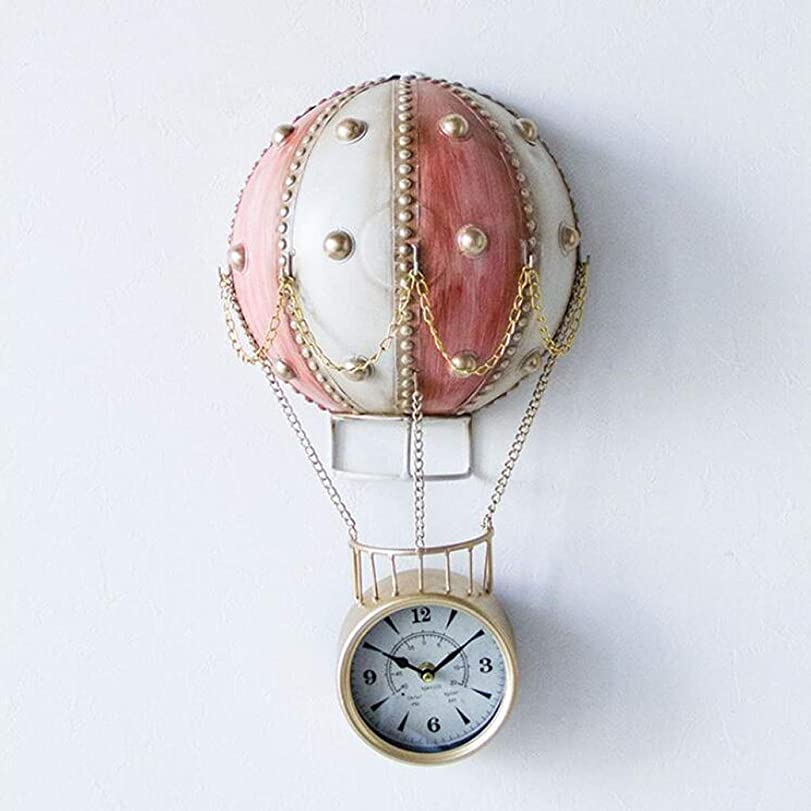 心臓人口侵入ウォールクロッククリエイティブ時計熱気球子供の部屋漫画の壁時計リビングルームのファッション時計 JSFQ (Color : Red)