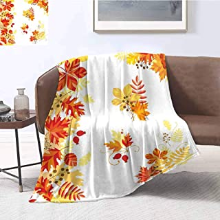 Fall Rugged or Durable Camping Blanket Autumn Themed Pattern Chestnut Oak Maple Leaves and Berries Corner Design Elements Warm and Washable W57 x L74 Inch Multicolor