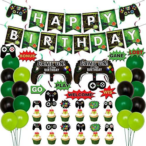 Videospiel Party Zubehör,Video Gaming Partyzubehör Set mit Happy Birthday Banner Girlande,Gamer Unter dem Motto Luftballons,Game Controller Luftballons,Hängende Strudel für Spiel Partyzubehö