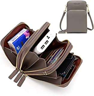 Womens Small Leather Crossbody Phone Purse Shoulder Bag Travel Messenger Handbag Pouch Cellphone Holster Cover Wallet Case Card Holder for iPhone 8 Plus Xs Max X Xr 7/6 Plus Samsung S10+ (Gray)
