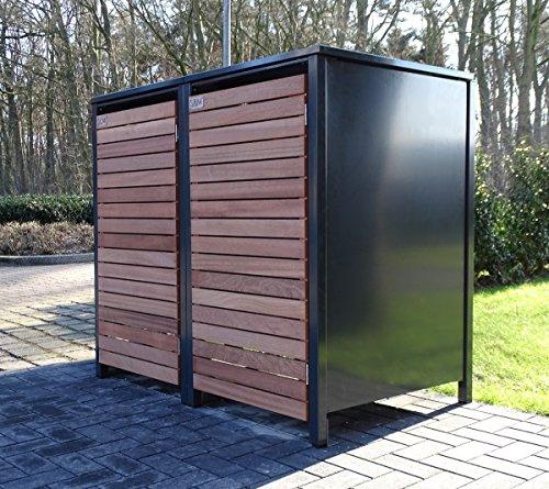 2 Mülltonnenboxen für 240 Liter Mülltonnen in Edeldesign Anthrazit - Edelholz / witterungsbeständig durch Pulverbeschichtung / mit Klappdeckel und Fronttür aus Edelholz