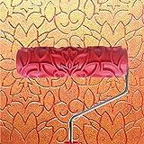 7 Pulgadas Rodillo de Pintura en Relieve Patrón Flor Mango Plástico para Decoración de Pared