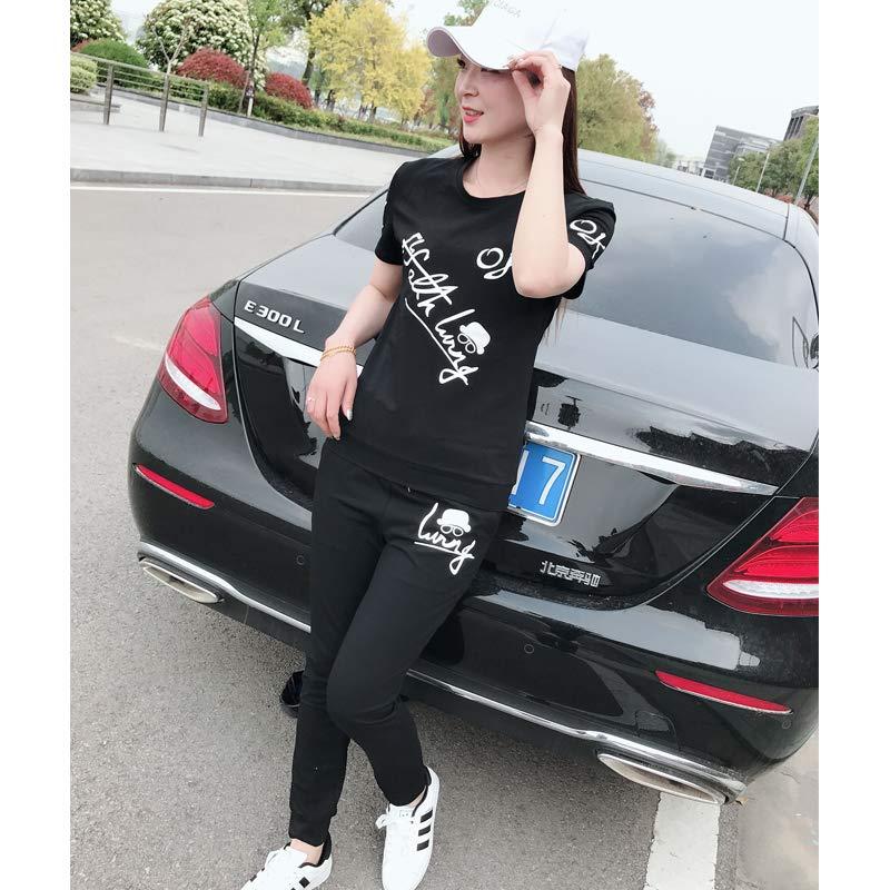 2019夏季新款男女圆领t恤修身运动装情侣休闲套装两件套潮流短袖T111套装黑色女 M