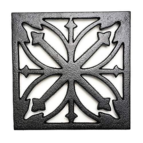 Sungmor Salvamanteles de metal cuadrado de hierro fundido, resistente al óxido, soportes para sartenes calientes o tetera, decoración de mesa de comedor o cocina