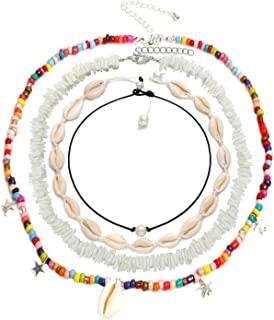 4 Pcs Puka Chip Shell Necklace Choker for Women Men - Tropical Hawaiian Beach Sea Shell Surfer Choker Pendant Necklace Jewelry Adjustable