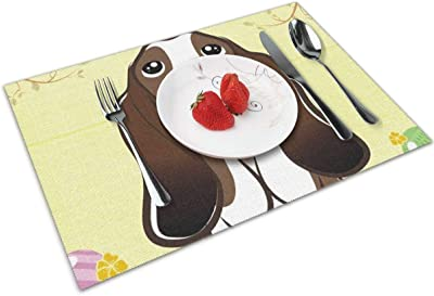 Amazon Com Easter Colored Eggs Basset Hound Dog Themed Print Pattern 4 Piece Set Of Placemats Pc Party Kitchen Dining Room Home Table Place Mat Patio Holidays Decorations Decor Ornament