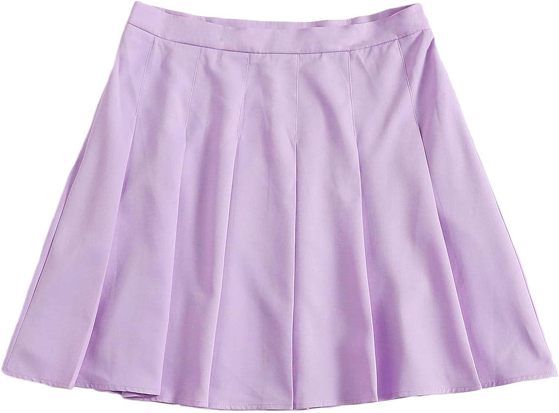 SheIn Women's Plus High Waist Pleated Solid Short Mini Skater Skirt
