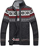 Kedera Casual Men's Thick Knitted Zipper Cardigan Sweater with Pattern (Small, Gray)
