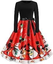 Dunacifa Women Vintage Dresses Long Sleeve Halloween Christmas 50s Housewife Retro Evening Party Prom Dress