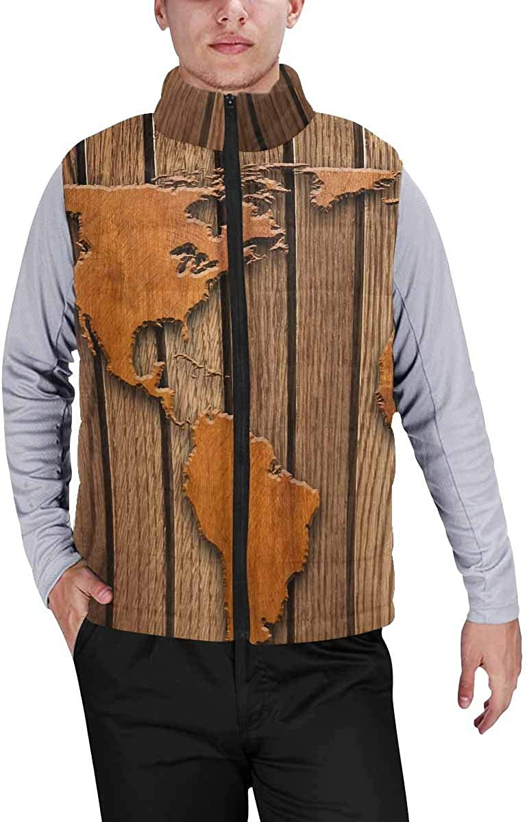 InterestPrint Men's Outdoor Casual Stand Collar Padded Vest Coats Wooden Gate with Antler Handles