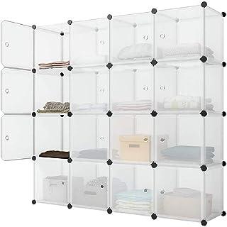 Asukale Armoire en plastique à monter soi-même - Portable, 16 compartiments avec portes - Blanc